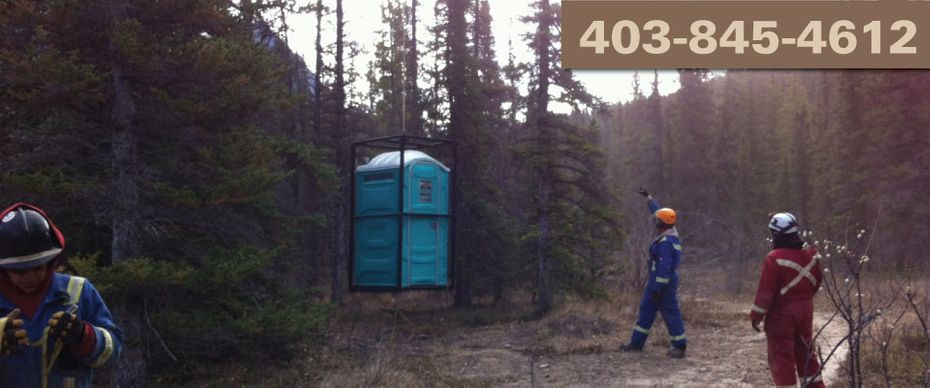 portable toilet lifted